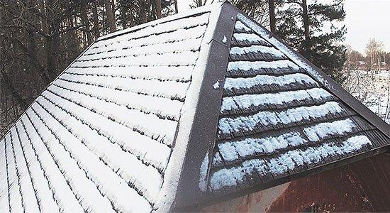 т-сайдинг под щепу на крыше дома